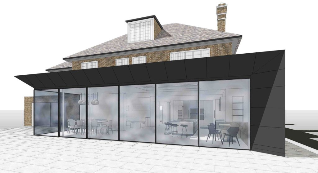 Rear View Of An Extension Rendered Drawing